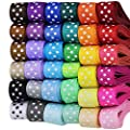 "Supla 36 Rolls 72 Yard 3/8"" Wide Polka Dot Grosgrain Ribbons White Black Rainbow Colors Set Wedding Party Wrapping Packing Sewing Hair Bow Craft Floral Arrangements"