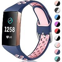 CeMiKa Siliconen Bandje Compatibel met Fitbit Charge 4/Fitbit Charge 3 Bandje, Ademende Vervangende Sportarmband voor…