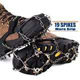 Songwin 19 Teeth Walk Traction Ice Cleat Spikes Crampons,True Stainless Steel Spikes And Durable Silicone,Boots For Hiking Camping Moutaineering.