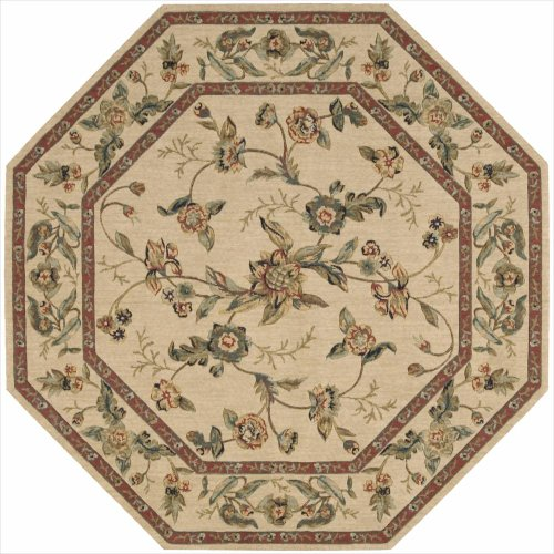 Nourison Grand Parterre/Parth (VA01) Beige Octagon Area Rug, 5-Feet 6-Inches by 5-Feet 6-Inches (5'6