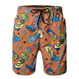ZQ-SOUTH Men's Cowboy Boot Doodle Quick Dry Summer Beach Surfing Board Shorts Swim Trunks Cargo Shorts