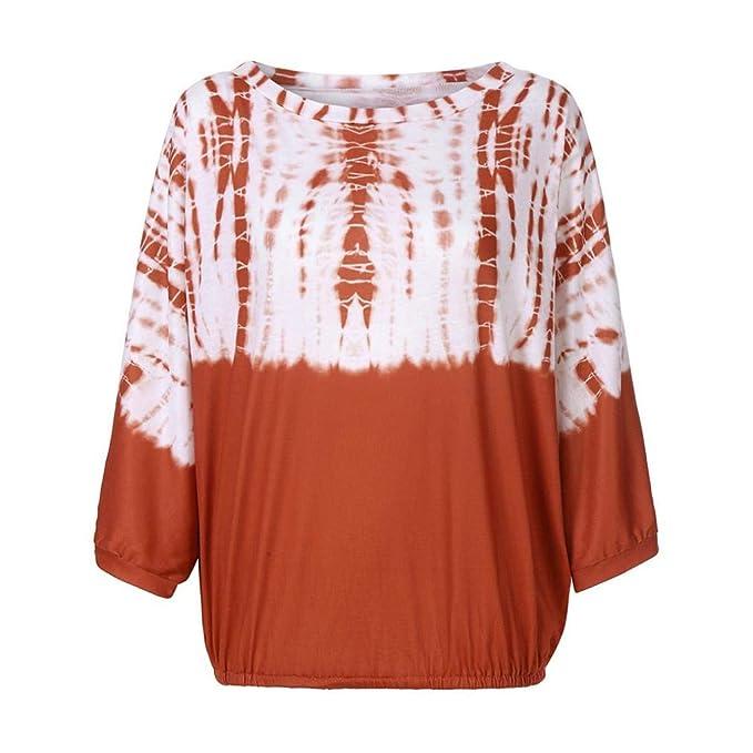 ... Mujeres Atractivas Ocasionales Ocasionales Tie Dye Print Long Bat Sleeve Blusa Fuera del Hombro Otoño Tops Sueltos Manga Larga Camisetas Mujer Basicas: ...