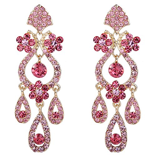EVER FAITH Women's Pink Rhinestone Crystal Gorgeous Vase Chandelier Teardrop Bridal Dangle Earrings Gold-Tone