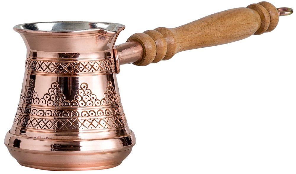 Thickest Premier Engraved Solid Copper Turkish Greek Arabic Coffee Pot Stovetop Coffee Maker Cezve Ibrik Briki with Wooden Handle, Thick 1,5 mm (Medium - 8 Oz)