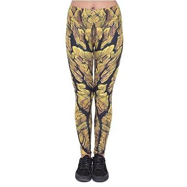 e7432f4ff5b437 Hanessa Frauen Leggins Bedruckte Leggings Hose Frühling Sommer Kleidung  Schwarz Gold L200