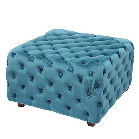 Astounding Adeco Ft0275 Blue Square Tufted Fabric Bench Footstool With Wood Legs Ottomans Storage Ottomans Blue Machost Co Dining Chair Design Ideas Machostcouk