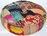 Maniona Rangile Stuffed Indian Vintage Kantha Patch Floor Cushion; Pouf Ottoman; Round Pouf