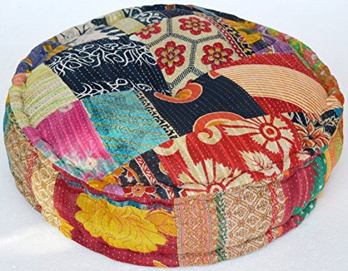 Maniona Rangile Stuffed Indian Vintage Kantha Patch Floor Cushion; Pouf Ottoman; Round Pouf by Maniona