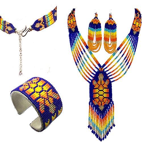 Native American Style Beaded Jewelry Set Necklace Earrings Bracelet Handmade (Blue)