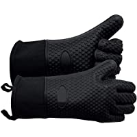 Heat Resistant BBQ Gloves for Grill, Long Silicone Non-Slip Oven Mits for Kitchen Barbecue, Cooking, Baking, Cutting