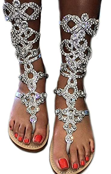 Amazon.com  Women s Rhinestone Gladiator Sandals