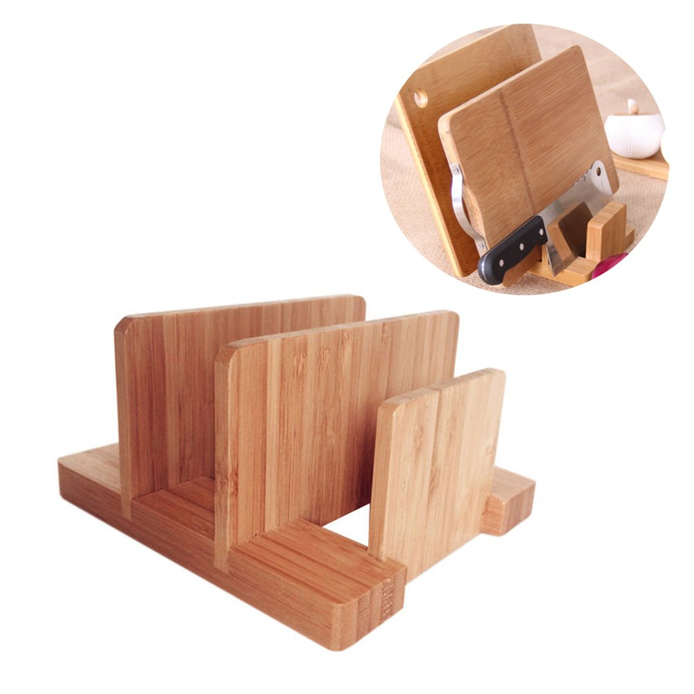 Ishowstore Bamboo Kitchen Organizer Suitable for Pot Lid Napkins Knife Chopping Cutting Board Stand Dish Rack Cookware Organizer Kitchen Storage