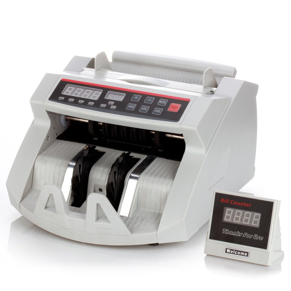 Flexzion Cash Bill Counter Money Currency Counting Bank Machine Counterfeit Detector Portable with Automatic Ultra Violet & Magnetic Detection Systems and External LCD Display