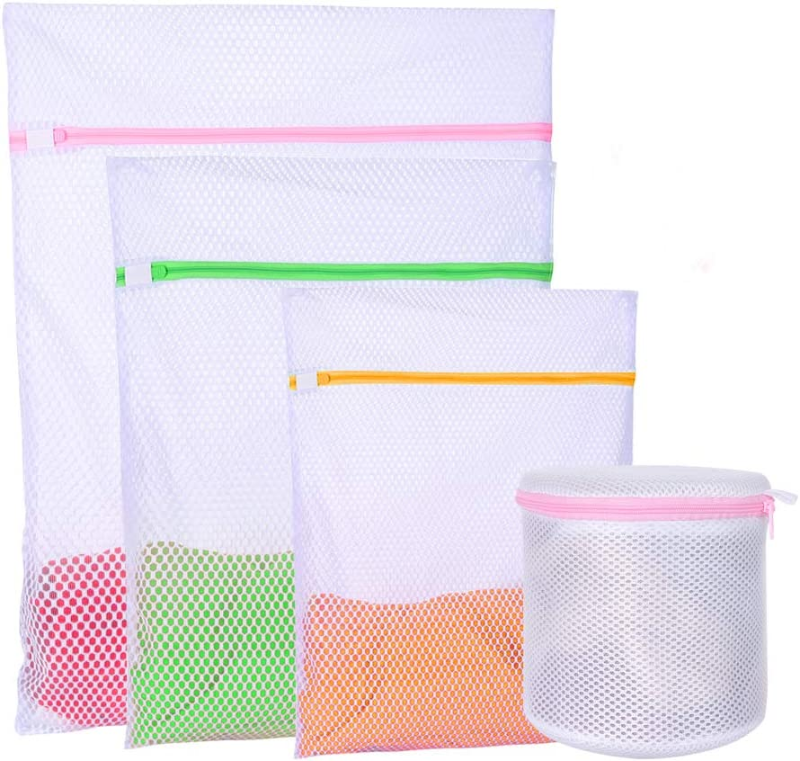 Qixin 4Pcs Heavy Duty Sturdy mesh Laundry Bags for Delicates Laundry wash Bag for Socks Bras Lingerie Coat Bed Sheets,Travel Laundry Bag (set4)