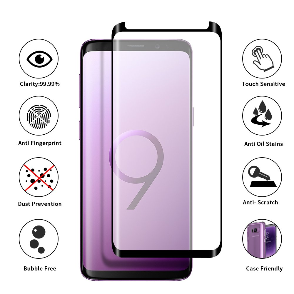 Tembin Glass Screen Protector for Galaxy S9 Plus [ Leather Case Friendly ] Full Adhesive & Full Coverage Curved Edge Screen Cover Anti-Fingerprint 9H Hardness Screen for Samsung Galaxy S9+ [ 2 Pack ]