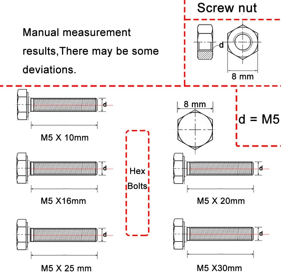 Bolts 100PCS, Nuts 100PCS M4*20mm Bolts and Nuts Hex Bolts 304 Stainless Steel Bolts and Nuts Full Thread Fastener Hex Cap Screw Metric Screws Nuts