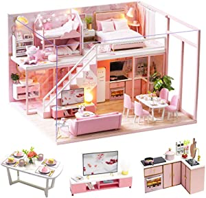 Spilay DIY Miniature Dollhouse Wooden Furniture Kit,Handmade Mini Modern Apartment Model Plus with Dust Cover & Music Box ,1:24 Scale Doll House Toys for Creative Gift (Meeting Your seet)