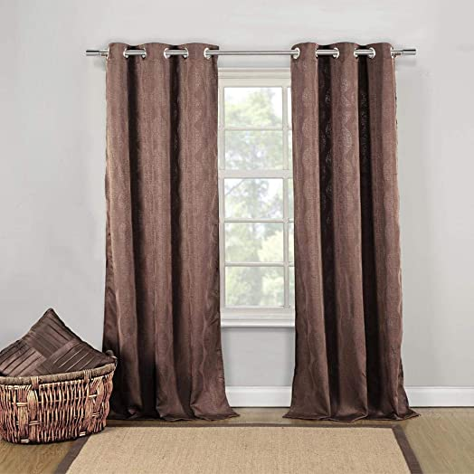 Duck River Textiles – Mollie Cotton Wave Grommet Top Window Curtains for Living Room Bedroom – Assorted Colors – Set of 2 Panels 40 X 84 Inch – Brown