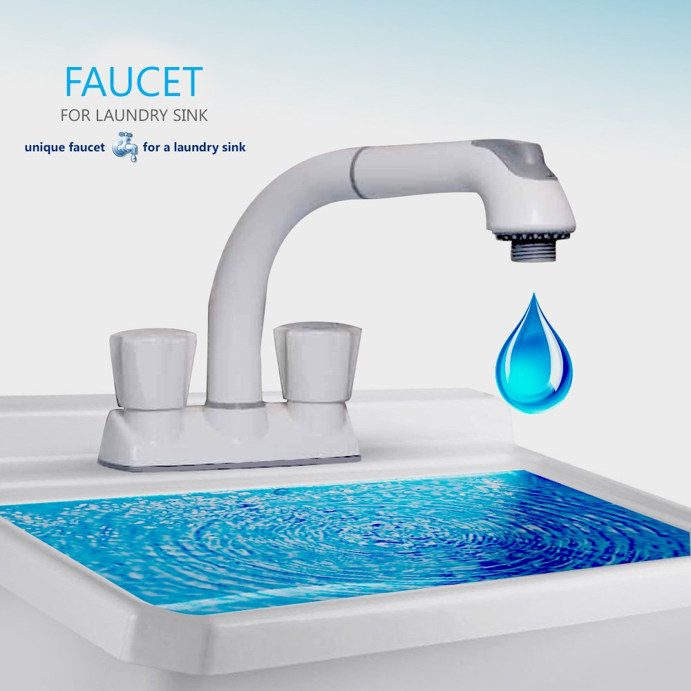 Eco Friendly Pull Out Laundry Utility Faucet White Finish 481 CleanFlo