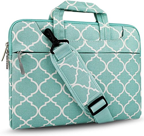 Hseok 3-Way 15-15.6 Inch Laptop Shoulder Bag Brifecase Water-Resistant Notebook Sleeve Case for MacBook Pro 15.4-Inch and Most 15-15.6 inch Dell/Ausu/Acer/HP/Lenovo,Quatrefoil Green Briefcase Green Laptop Case