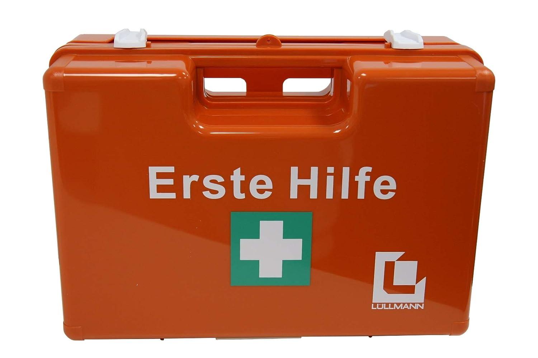 GROß ER BETRIEBS VERBANDSKASTEN Erste Hilfe Koffer DIN 13169 Lü llmann Verbandkasten orange 620155 Lüllmann