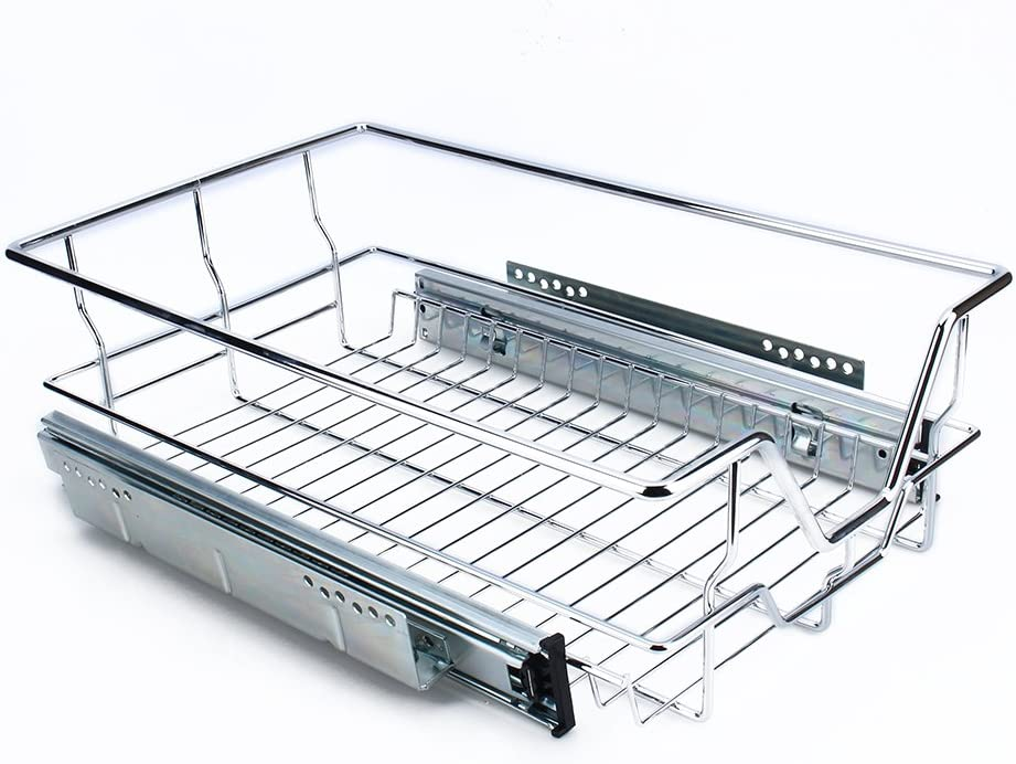 Amazon Com Pull Out Cabinet Organizer Rack Slide Out Under Sink Drawer Basket Space Saving Wire Sliding Shelf Stainless Steel For Kitchen Cupboard Pantry Pan Pot Storage 10 4 W X 17 3 D X