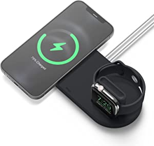 elago MS Charging Hub Duo Watch Compatible with MagSafe Charger, Compatible with Apple Watch Charger – Wireless Charging Station Compatible with iPhone 12 Models, Compatible with AirPods Pro [Black]