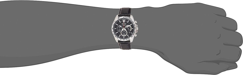 Seiko Heren Chronograaf Quartz Horloge met Lederen Band