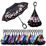 Spar. Saa Double Layer Inverted Umbrella with C-Shaped Handle, Anti-UV Waterproof Windproof Straight Umbrella for Car Rain Outdoor Use (Flowers)
