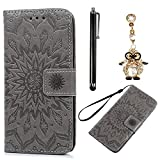 Case for Samsung Galaxy S4, Bonice 3 in 1 Accessory PU Leather Flip Folio Practical Book Style Magnetic Snap Wallet Case with [Card Slots] [Hand Strip] Premium Multi-Function Design Cover + Stylus Pen + Diamond Rhinestone Antidust Plug - Grey