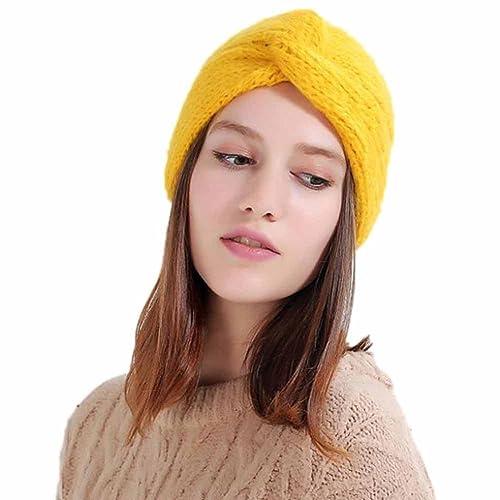 Magiyard Gorros de orejeras de punto de lana manual Gorras de niñas
