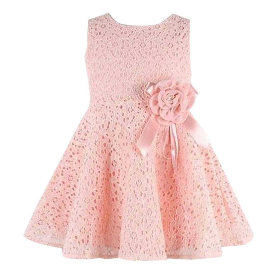 ❤️Elecenty Mädchen Prinzessin Kleid,Spitzenkleid Baby Solide ...