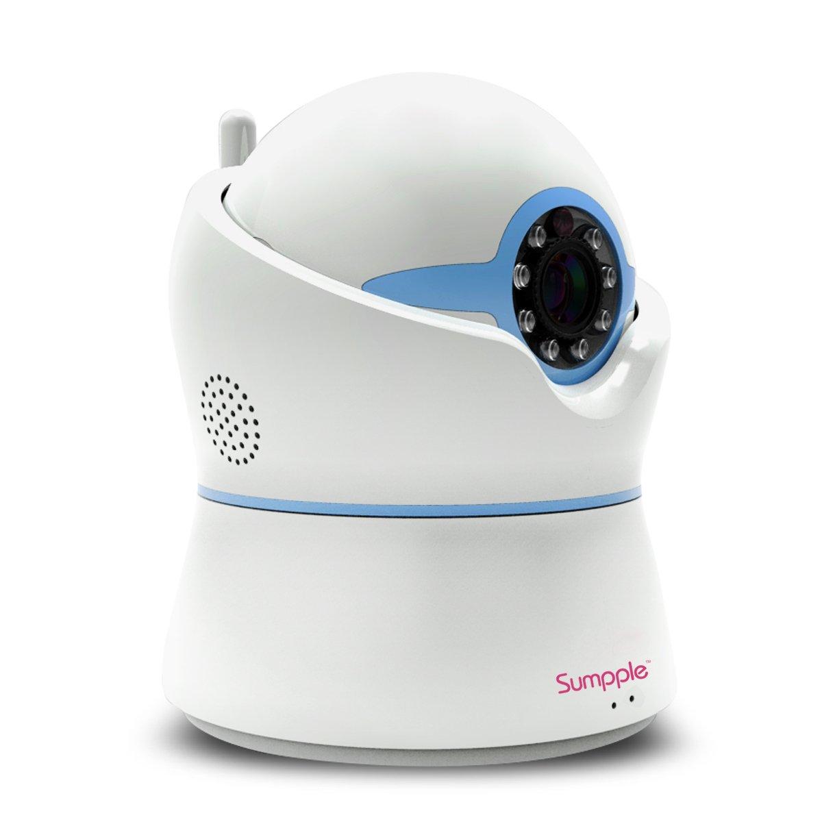 Sumpple 有線/ワイヤレス無線WiFi 1280x720P 100万画素 ベビー ビデオ モニター カメラ 夜間暗視 双方向オーディオ パン/チルト 音楽プレーヤー 動体/音声/温度/湿度検知 iOS, AndroidまたはPCに対応 ブルー B013SN5668 ブルー ブルー