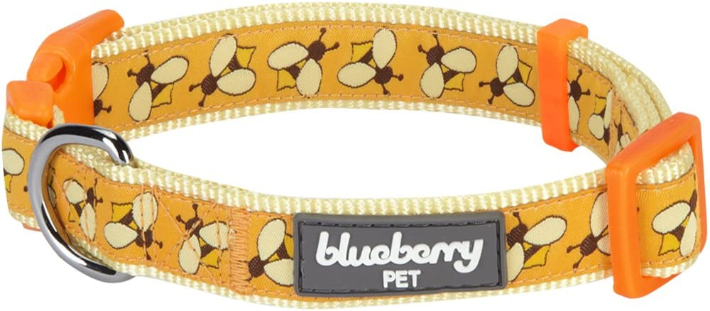 Blueberry Pet Essentials 10 Patterns Statement Busy Bees Designer Adjustable Dog Collar, Large, Neck 18
