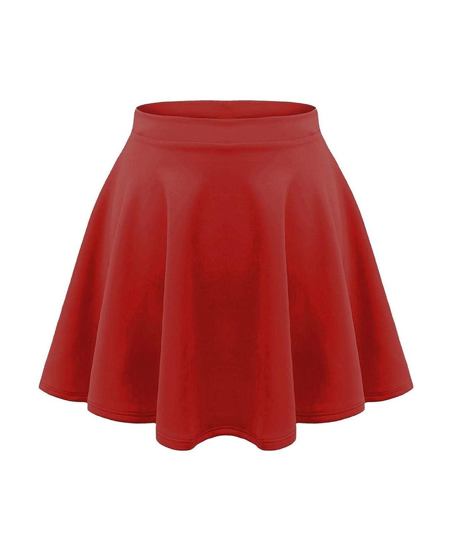 Fashion Lovers Kids Girls Children HIGH Waisted Stretch Plain Flippy Flared Short Skater Skirts