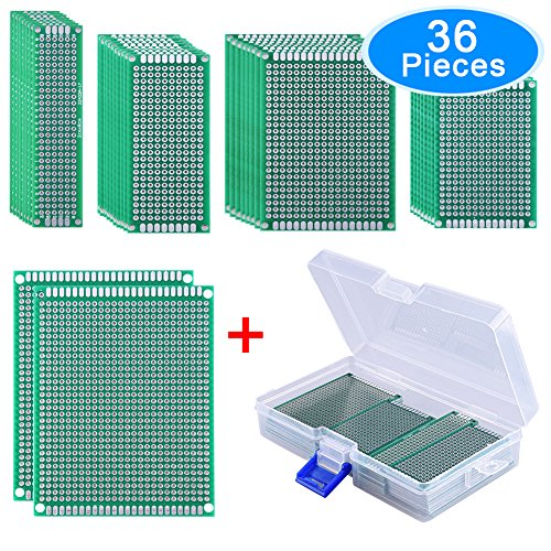 Side Box Boards (AUSTOR 36 Pieces Double Sided PCB Board Prototype Kit, 5 Sizes Universal Printed Circuit Protoboard with Free Box, for DIY Soldering and Electronic Project)