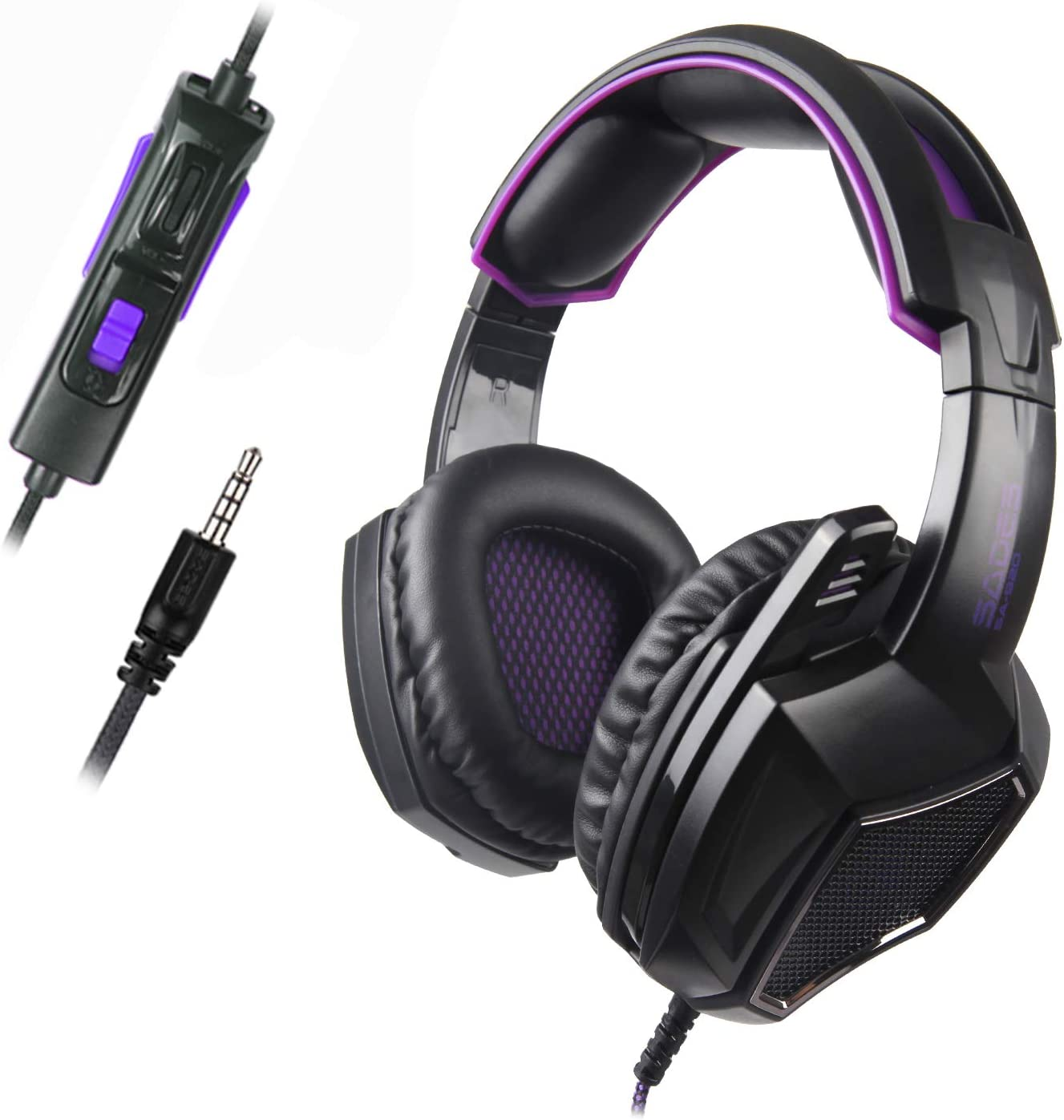 Sades SA920 3.5mm Wired Over Ear Stereo Bass Gaming Headphone Headset with Microphone for New Box one PS4 PC iOS Computer Smart Phones Mobiles Laptop Mac Black Purple