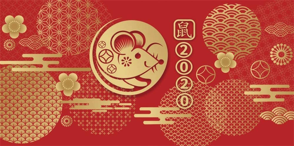 AOFOTO Happy New Year 2020 Backdrop 15x8ft Year of The Rat Chinese Red Lunar New Year Spring Festival Photography Background Family Kids Photo Studio Props Vinyl Mall Store Compnay Poster Banner