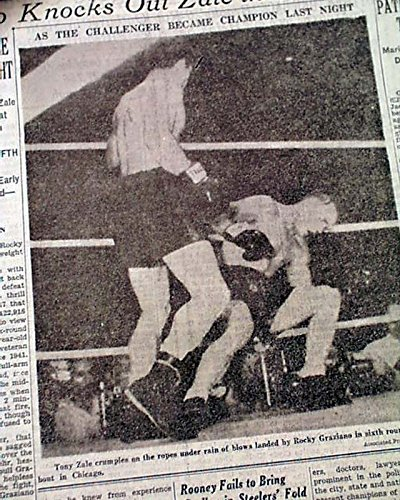 ROCKY GRAZIANO vs. Tony Zale Middleweight BOXING Title Fight 1947 NYC Newspaper THE NEW YORK TIMES, July 17, 1947