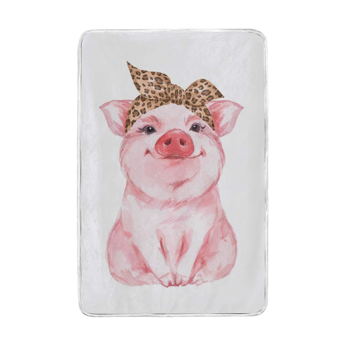 Vantaso Soft Blankets Throw Cute Girl Pig Pink Kids Girls Boys Bedroom Sofa Couch Living Room 60 x 90 inch by Vantaso