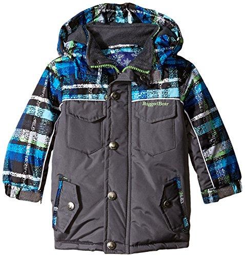 Rugged Bear Baby Boys' AO Plaid Ski Jacket, Charcoal, 18 Months