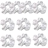 10 Pack Cotton White Scrunchies for Tie Dye