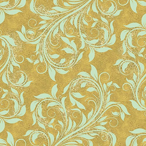 - Golden Luna Angel Damask by Tina Lavoie Art Print, 14 x 14 inches