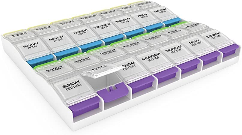Ezy Dose Weekly (7-Day) Push Button Pill Organizer and Planner │ Arthritis Friendly (67583)