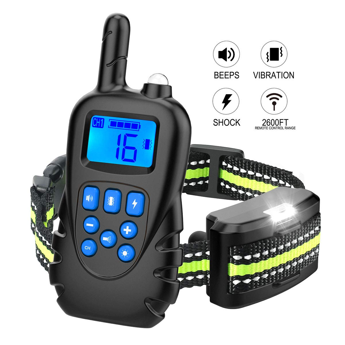 Allenker Dog Training Collar - Dog Shock Collar with Remote Up to 2600Ft Remote Range, 3 Training Modes: Beep Vibration Static Shock - 1~16 Vibration Shock Levels - Rechargeable Waterproof W/Charger