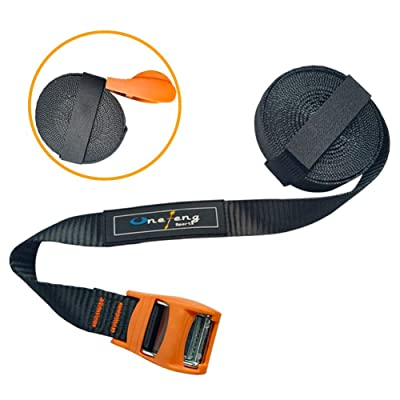 Onefeng Sports Tie Down Strap 13' Heavy Duty Cargo Strap for Kayak Canoe SUP - 2 Pack (2 Pack Orange): Automotive
