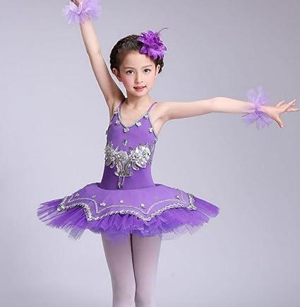 Trajes de los niños niñas Bailarina Falda tutú Sujetador Vestido de Princesa Danza Falda práctica Ropa