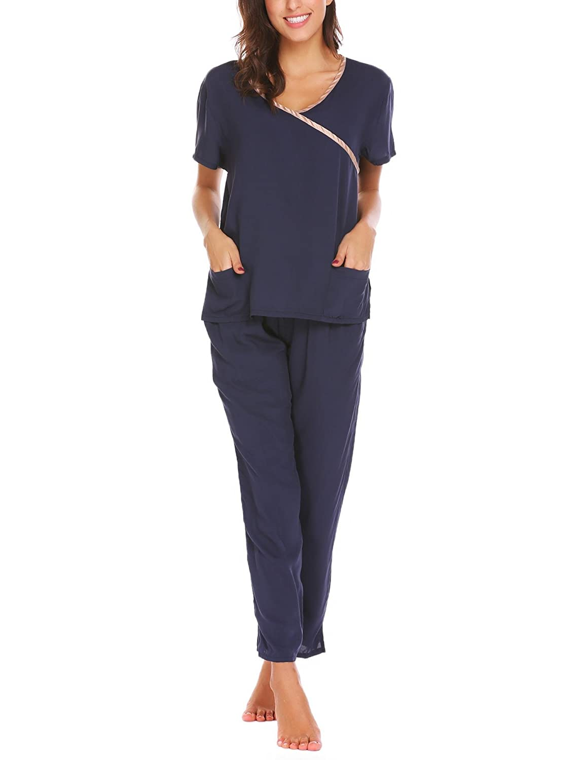 Aimado SLEEPWEAR レディース B07BDHGP76 Large|2-navy Blue 2-navy Blue Large