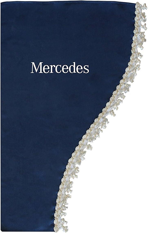 AutoCommerse Juego de 2 cortinas laterales de sat/én con borlas blancas para Actros Atego Axor Arocs Series camiones HGV cami/ón azul