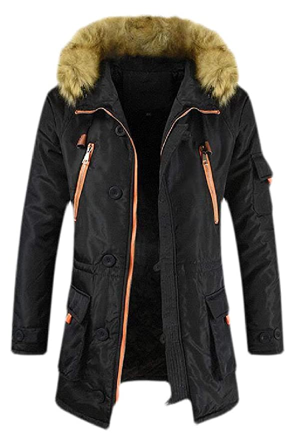 Spirio Men Hooded Warm Winter Middle Length Faux Fur Collar Quilted Padded Puffer Jacket